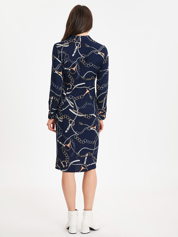 %100 Viskoz Diz Altı Desenli Uzun Kol Zincir Baskılı Viskon Elbise