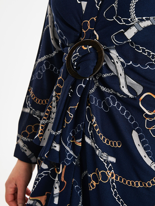 Kadın Zincir Baskılı Viskon Elbise