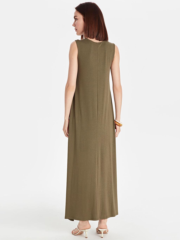 %97 Viskon %3 Elastan Uzun Düz Kolsuz Düz Salaş Uzun Elbise