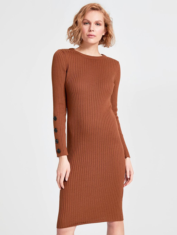 Kadın Kolları Düğme Detaylı İnce Triko Kalem Elbise