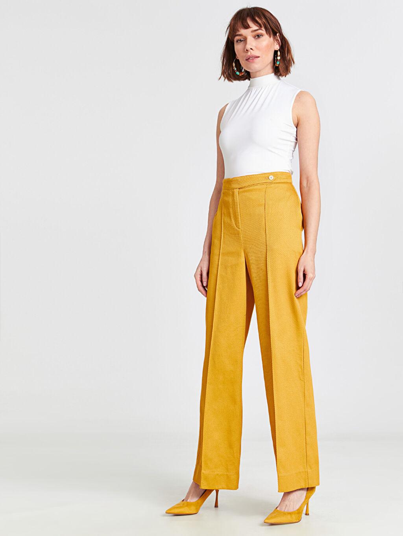 %100 Pamuk Bol Yüksek Bel Geniş Paça Pantolon Geniş Paça Pantolon