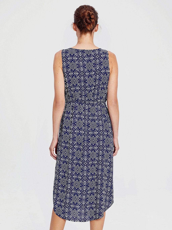 Kadın Beli Büzgülü Desenli Viskon Elbise