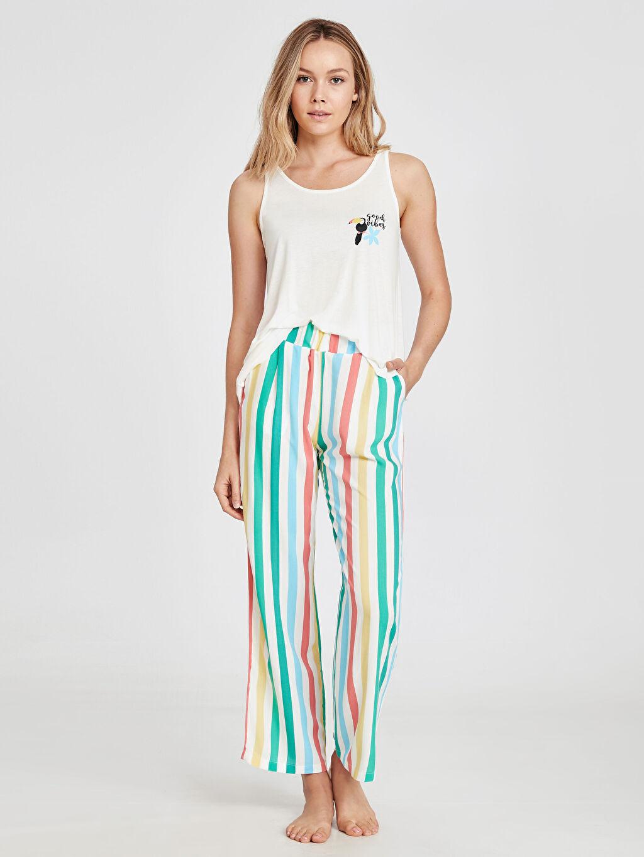 Çok Renkli Çizgili Pijama Takımı 9SN576Z8 LC Waikiki
