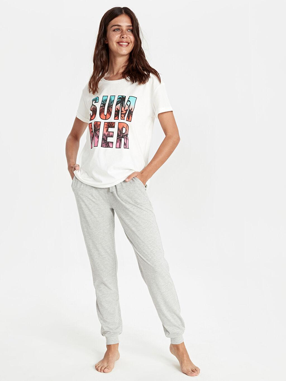 %100 Pamuk Pijamalar Standart Yazı Baskılı Pamuklu Pijama Takımı