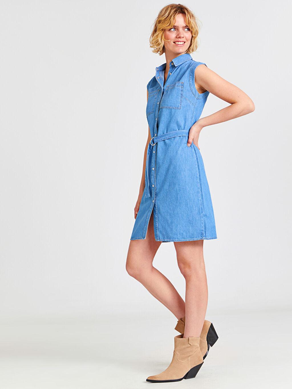%100 Pamuk Diz Üstü Düz Kolsuz Kuşaklı Kolsuz Jean Gömlek Elbise
