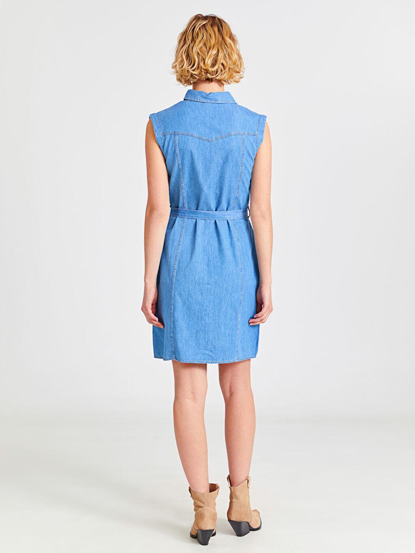 Kadın Kuşaklı Kolsuz Jean Gömlek Elbise