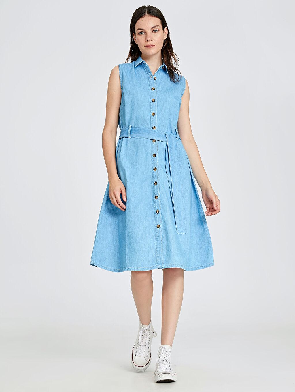 %100 Pamuk Diz Altı Düz Kolsuz Kuşaklı Jean Gömlek Elbise