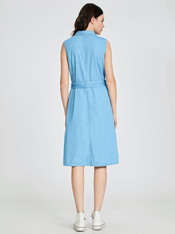 Kadın Kuşaklı Jean Gömlek Elbise