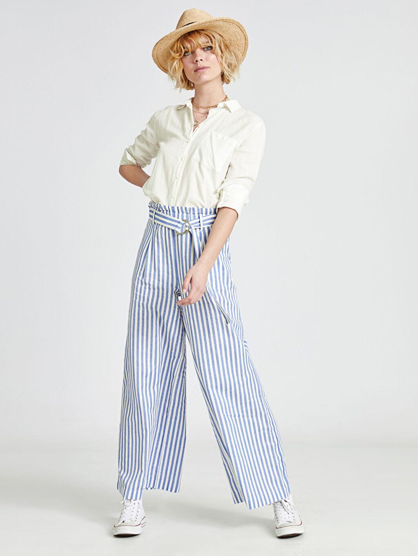 %100 Pamuk Geniş Paça Lastikli Bel Pantolon Normal Bel Bol Kemerli Çizgili Palazzo Pantolon