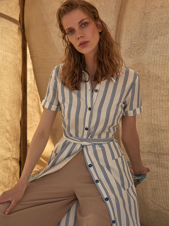 %100 Pamuk Kuşaklı Çizgili Gömlek Elbise