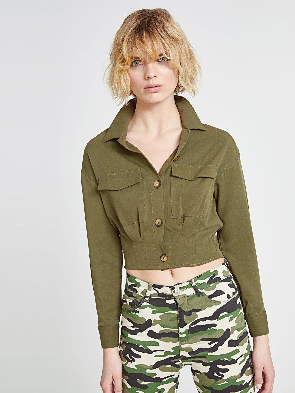 Kadın Cepli Viskon Gömlek