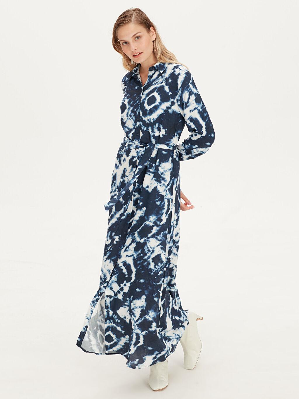 Mavi Desenli Viskon Gömlek Elbise 9SQ833Z8 LC Waikiki