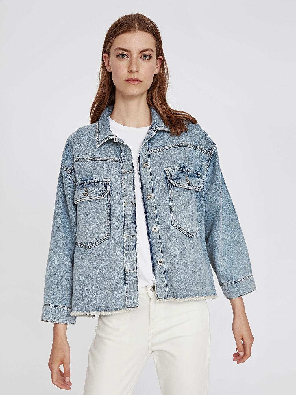 %100 Pamuk Ceket Sırtı Baskılı Jean Ceket