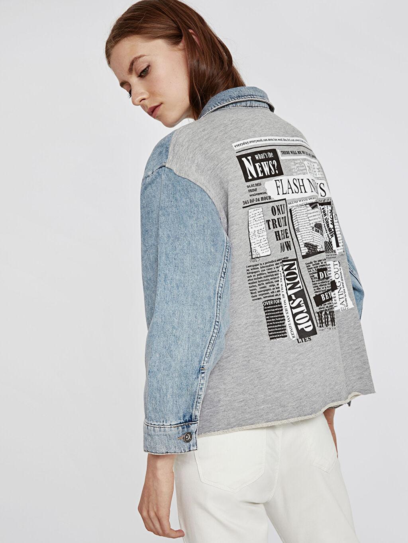 Kadın Sırtı Baskılı Jean Ceket