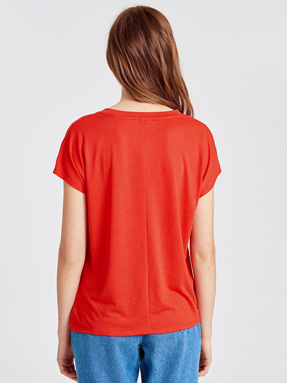 Kadın Işıltılı Yazı Baskılı Tişört