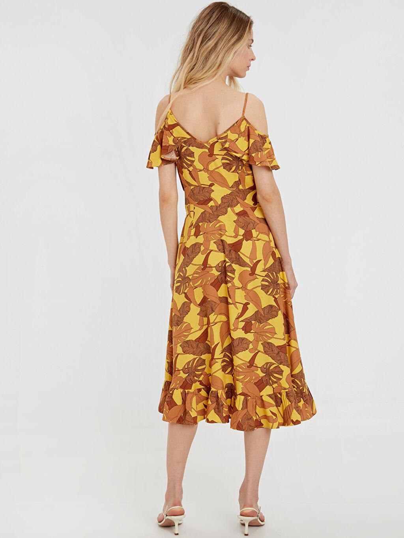 %10 Keten %90 Viskoz Diz Altı Desenli Kolsuz Fırfır Detaylı Açık Omuz Desenli Elbise
