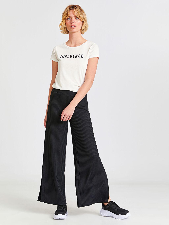 %99 Polyester %1 Elastan %30 Pamuk %70 Polyester Geniş Paça Lastikli Bel Pantolon Normal Bel Standart Beli Lastikli Yırtmaçlı Palazzo Pantolon