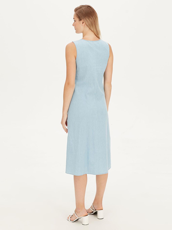Kadın Düğmeli Bol Jean Elbise
