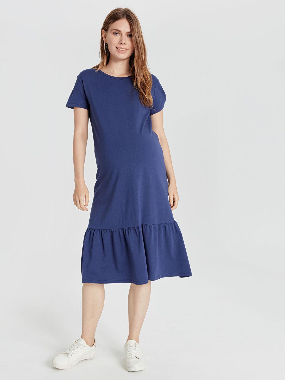 %96 Pamuk %4 Elastan Elbise Fırfır Detaylı Pamuklu Hamile Elbise