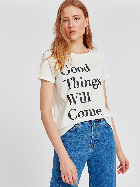 Kadın Yazı Baskılı Pamuklu Tişört