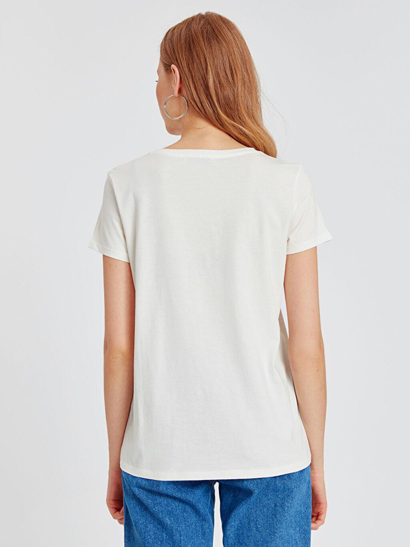 %100 Pamuk Yazı Baskılı Pamuklu Tişört