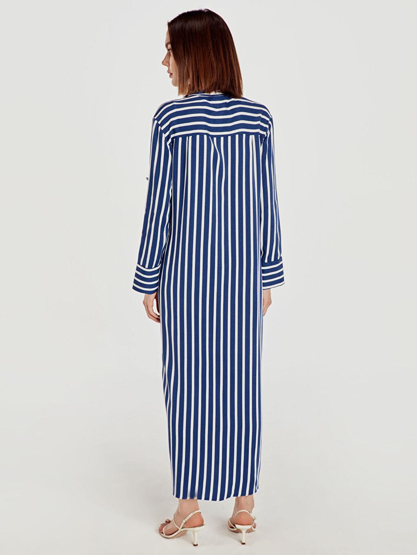 %100 Viskoz Çizgili Uzun Uzun Kol Çizgili Uzun Salaş Elbise