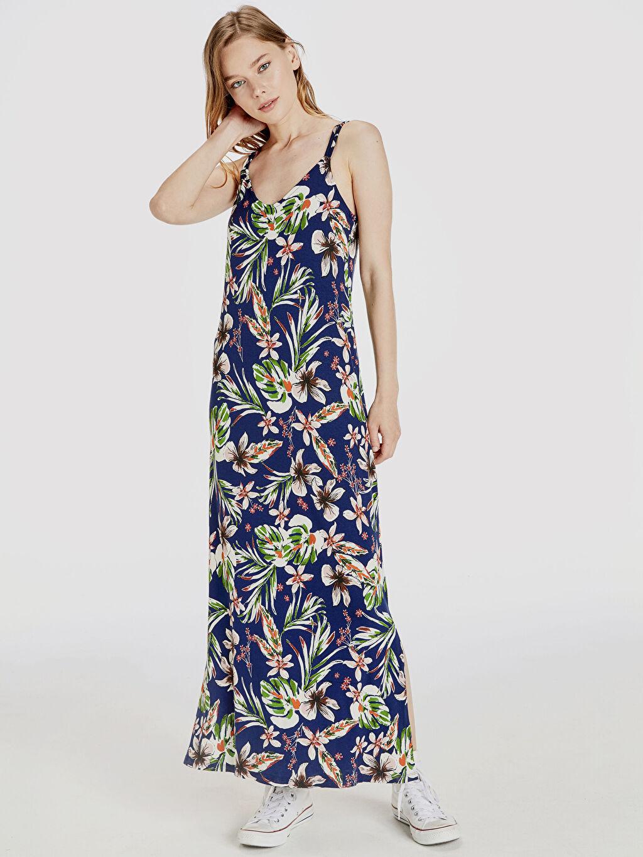 Lacivert Çiçek Desenli Uzun Viskon Elbise 9ST370Z8 LC Waikiki