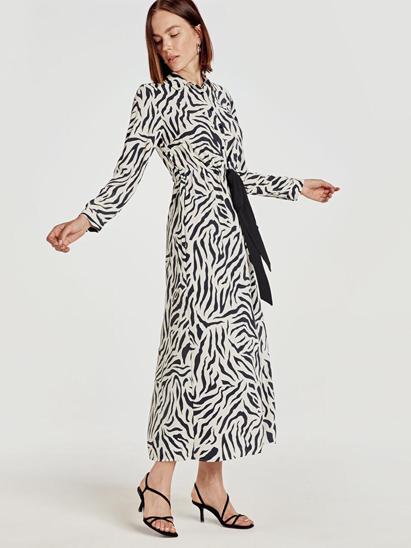 %100 Polyester Uzun Desenli Uzun Kol Desenli Gömlek Elbise