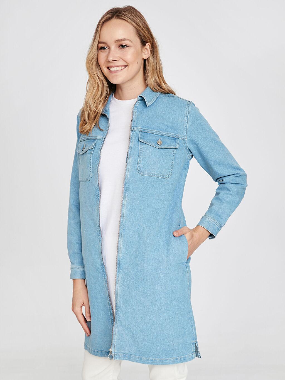 %77 Pamuk %21 Polyester %2 Elastan Ceket Uzun Jean Ceket