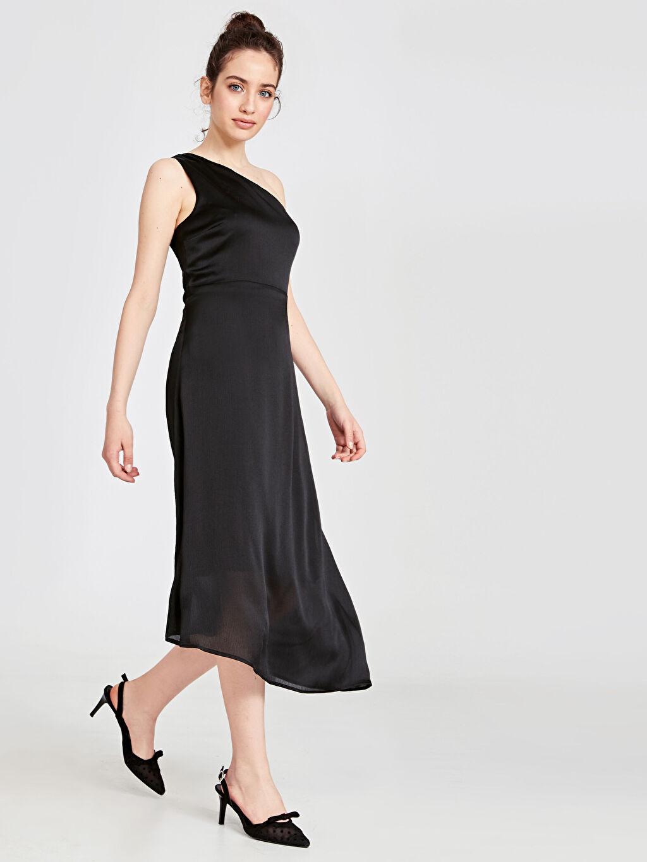 Siyah Tek Omuz Asimetrik Abiye Elbise 9SU120Z8 LC Waikiki