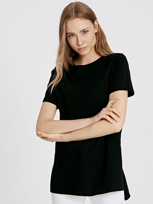 Siyah Pamuklu Düz Basic Tişört 9SU225Z8 LC Waikiki