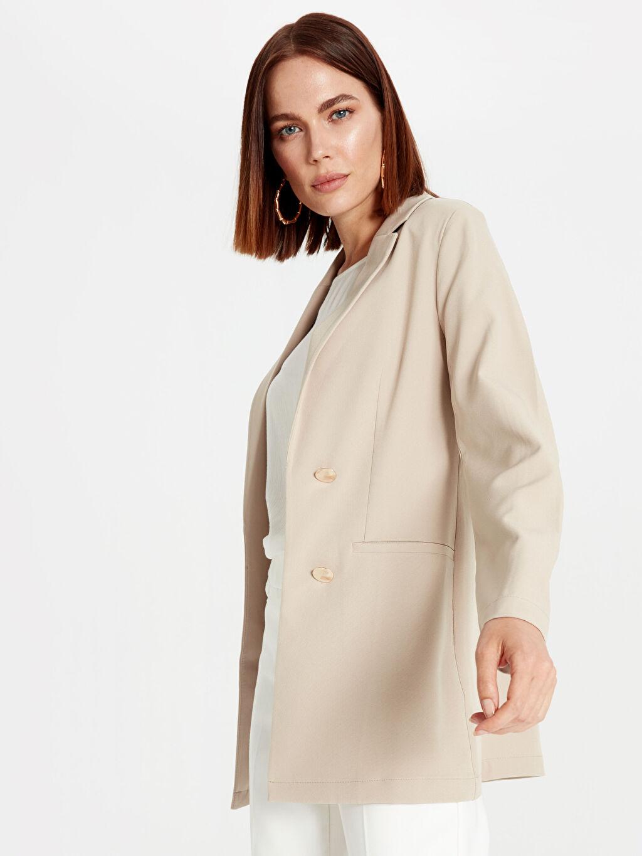 %90 Polyester %10 Elastan Orta Blazer Ceket