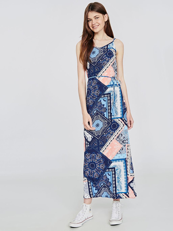 Lacivert Desenli Uzun Askılı Elbise 9SU367Z8 LC Waikiki