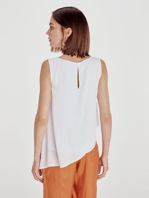 %100 Polyester Fırfır Detaylı Bluz