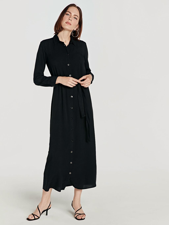Siyah Kuşaklı Viskon Gömlek Elbise 9SU596Z8 LC Waikiki