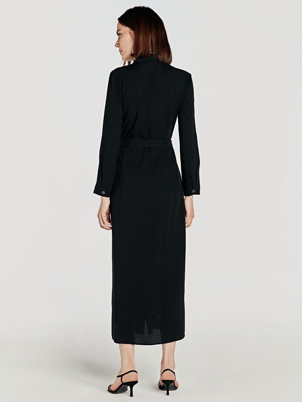 Kadın Kuşaklı Viskon Gömlek Elbise