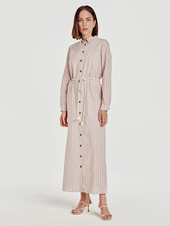 %100 Pamuk %100 Pamuk Uzun Çizgili Uzun Kol Kemerli Çizgili Uzun Gömlek Elbise