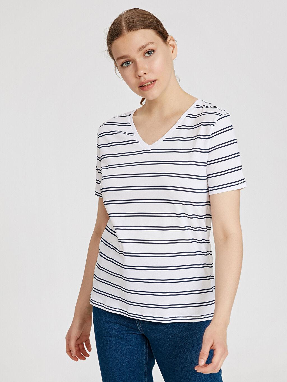 %100 Pamuk Standart Çizgili Pamuklu Tişört