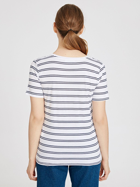 Kadın Çizgili Pamuklu Tişört