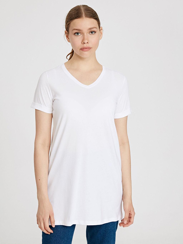 Beyaz V Yaka Pamuklu Tişört 9SU900Z8 LC Waikiki