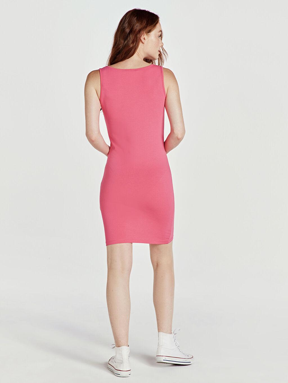 %96 Pamuk %4 Elastan Diz Üstü Düz Kolsuz Esnek Pamuklu Mini Elbise