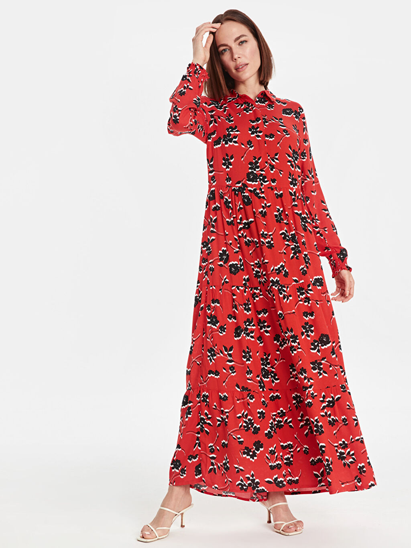 %100 Viskoz Uzun Desenli Uzun Kol Çiçek Desenli Uzun Viskon Elbise