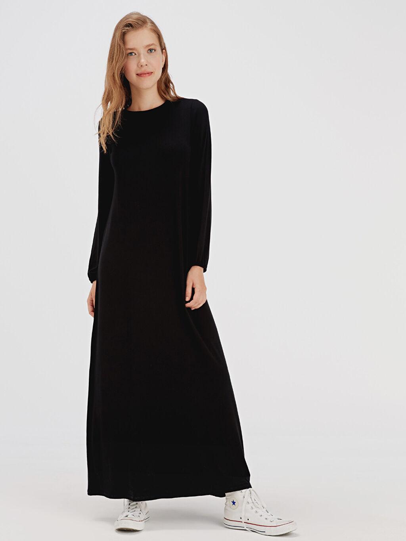 %96 Viskon %4 Elastan Uzun Desenli Uzun Kol Uzun Salaş Elbise