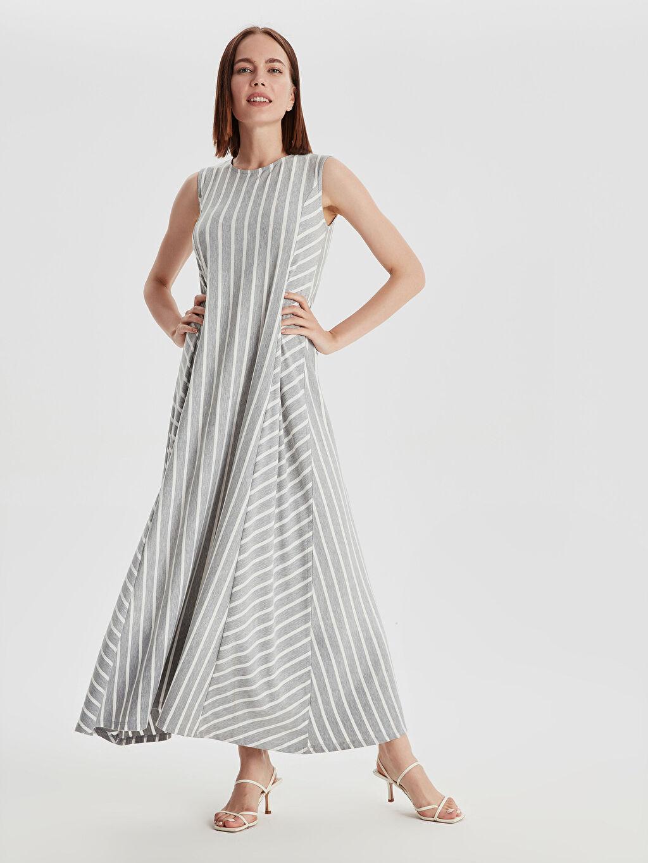 Gri Çizgili Esnek Salaş Elbise 9SV082Z8 LC Waikiki