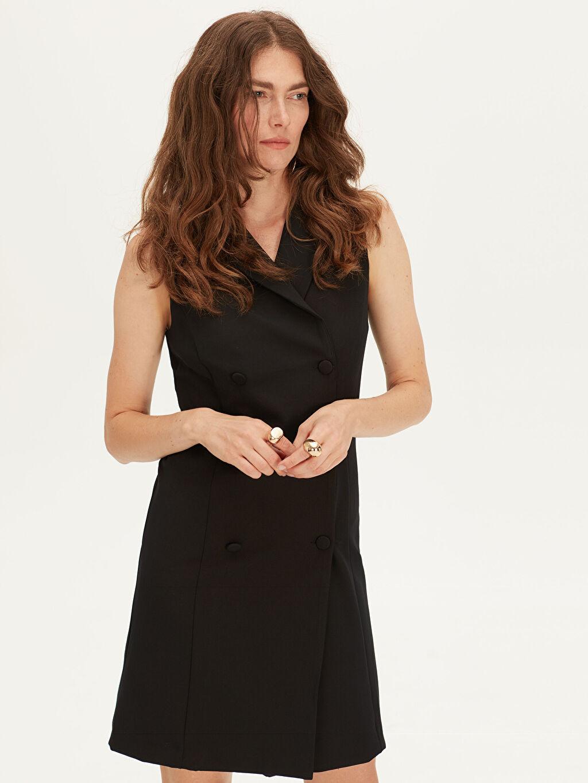 Kadın V Yaka Düğmeli Gabardin Elbise