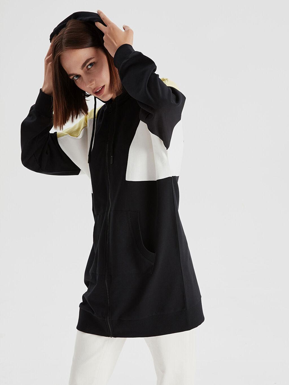 %100 Pamuk  Renk Bloklu Kapüşonlu Uzun Sweatshirt