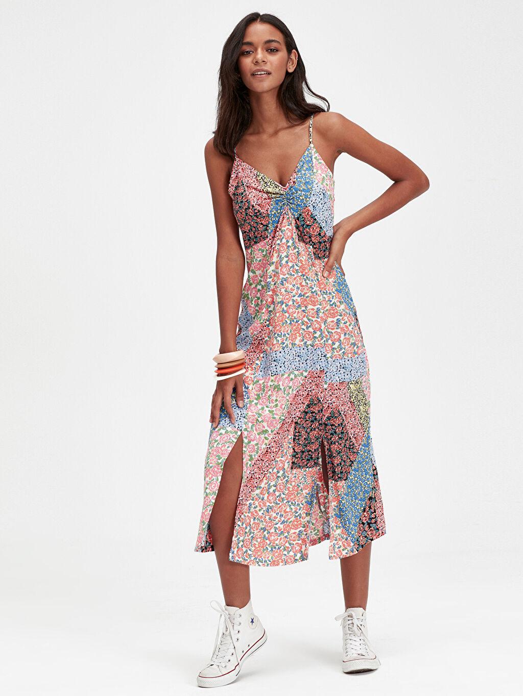 Mercan Desenli Askılı Viskon Elbise 9SV614Z8 LC Waikiki