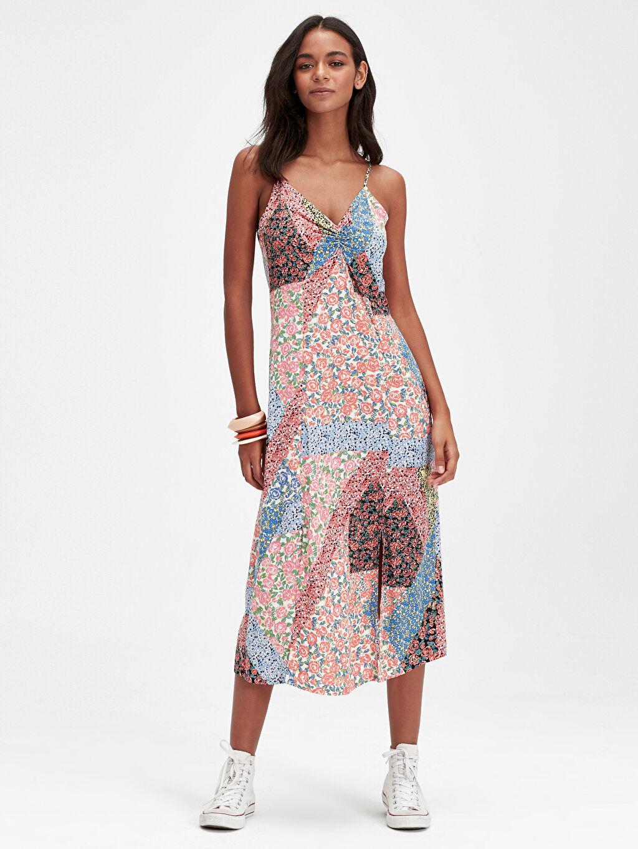 %100 Viskoz Diz Altı Desenli Kolsuz Desenli Askılı Viskon Elbise