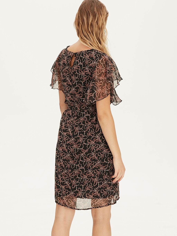 Kadın Desenli Fırfırlı Şifon Elbise