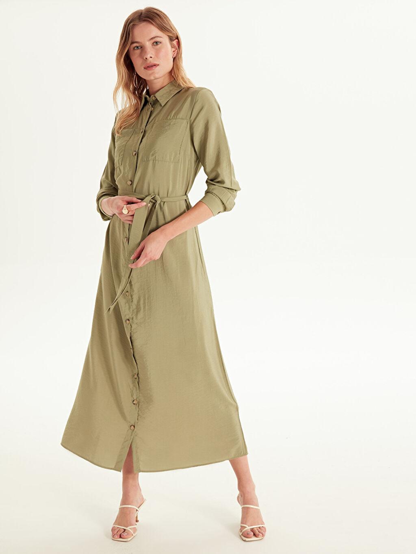 Kadın Kuşaklı Uzun Gömlek Elbise
